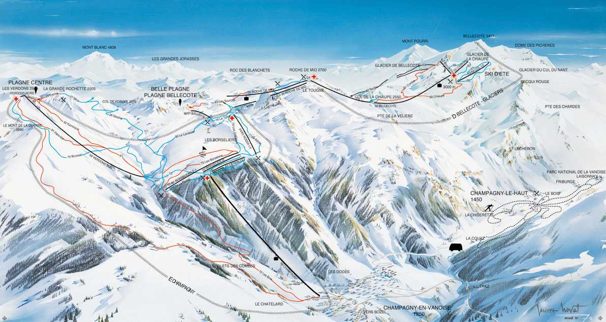 Champagny Piste / Trail Map