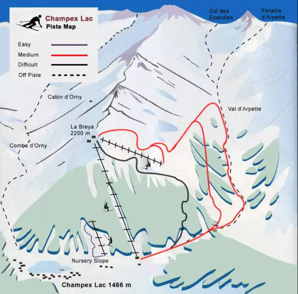 Champex-Lac Piste / Trail Map