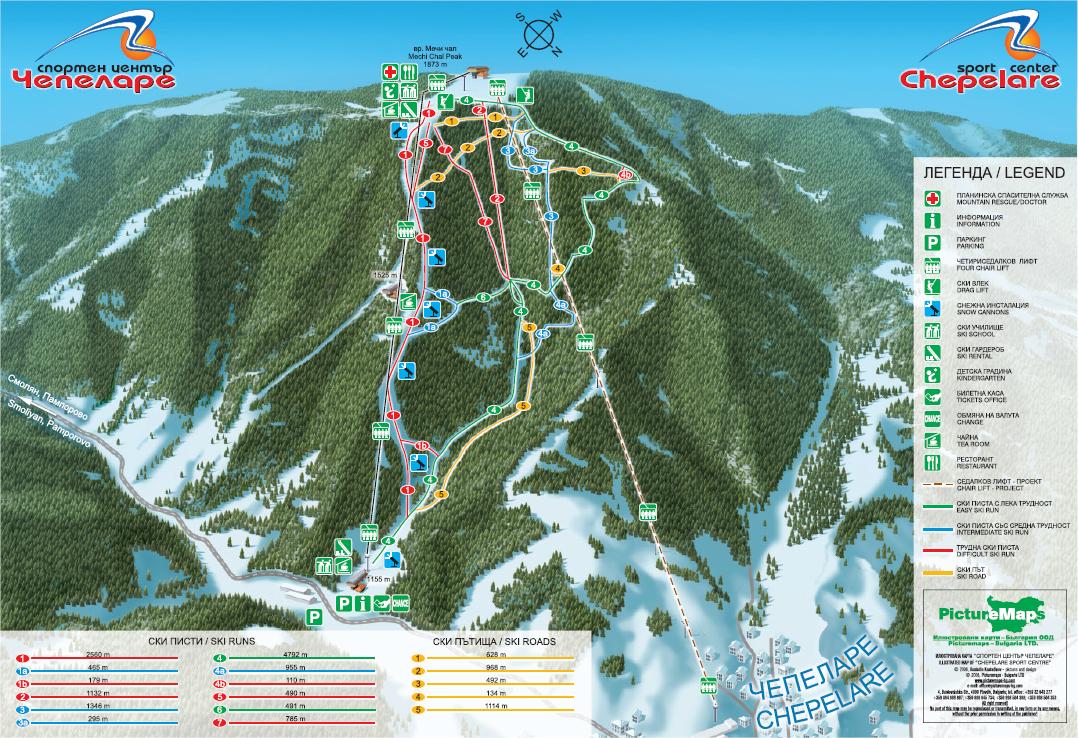 Chepelare Piste / Trail Map
