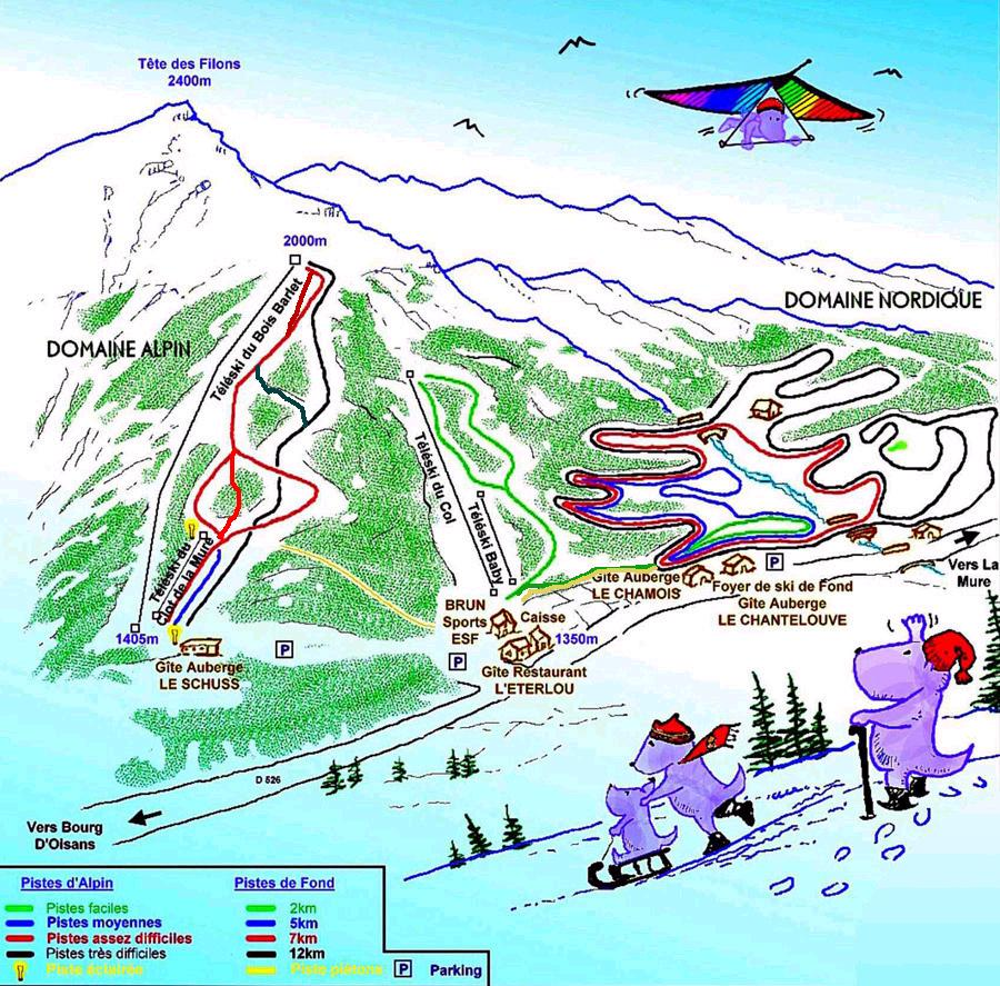 Col d' Ornon Piste / Trail Map