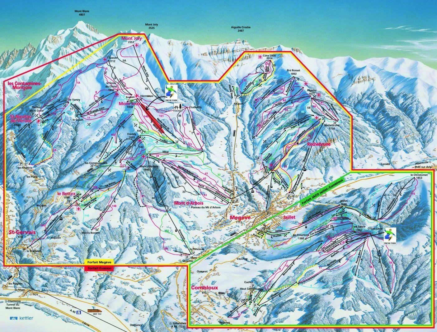 Combloux Piste Map Trail Map