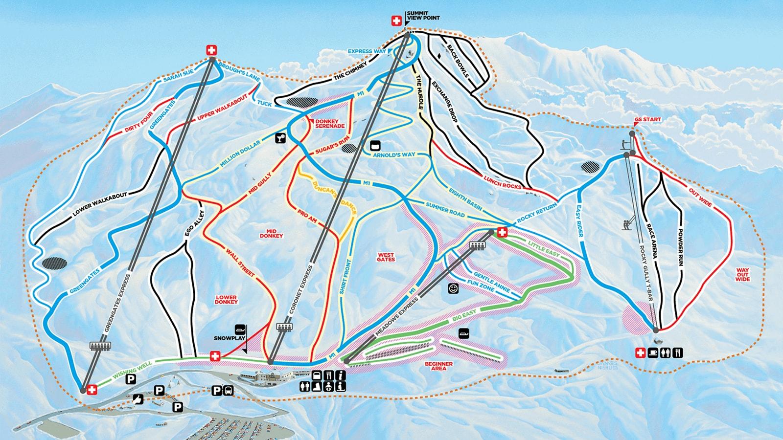 Coronet Peak Piste / Trail Map