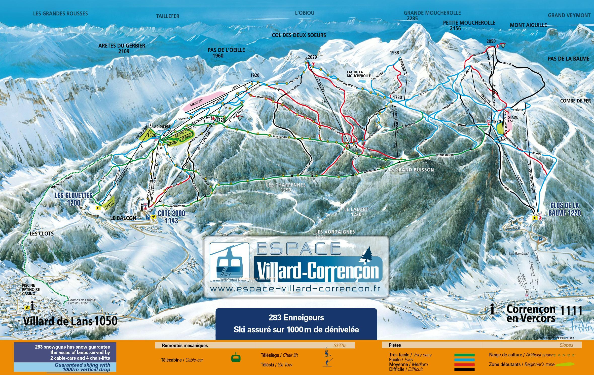 Correncon en Vercors Piste / Trail Map