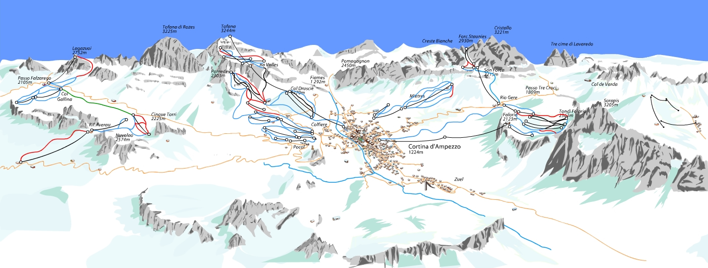 Cortina Piste Map Trail Map high res