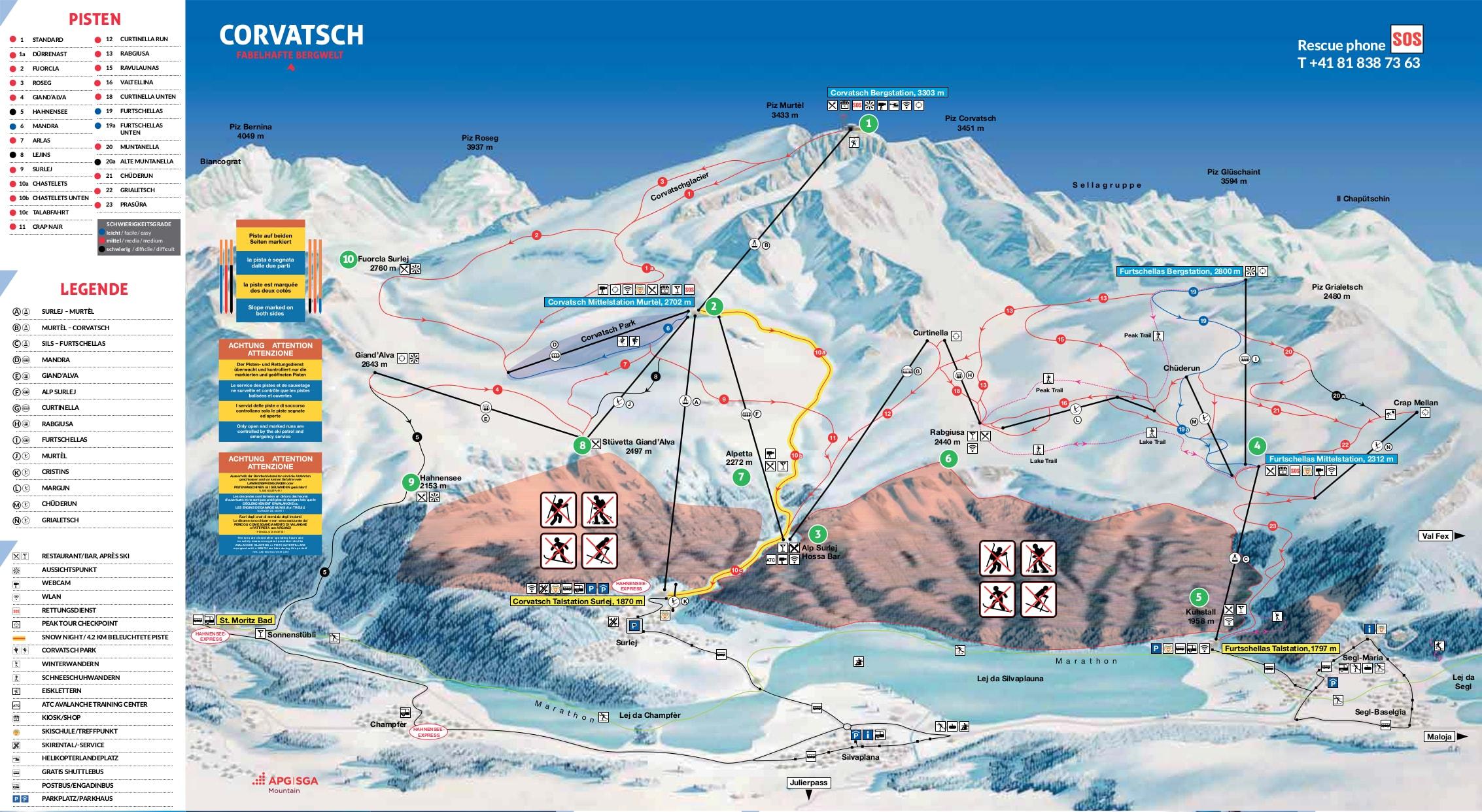 Corvatsch-Furtschellas Piste / Trail Map