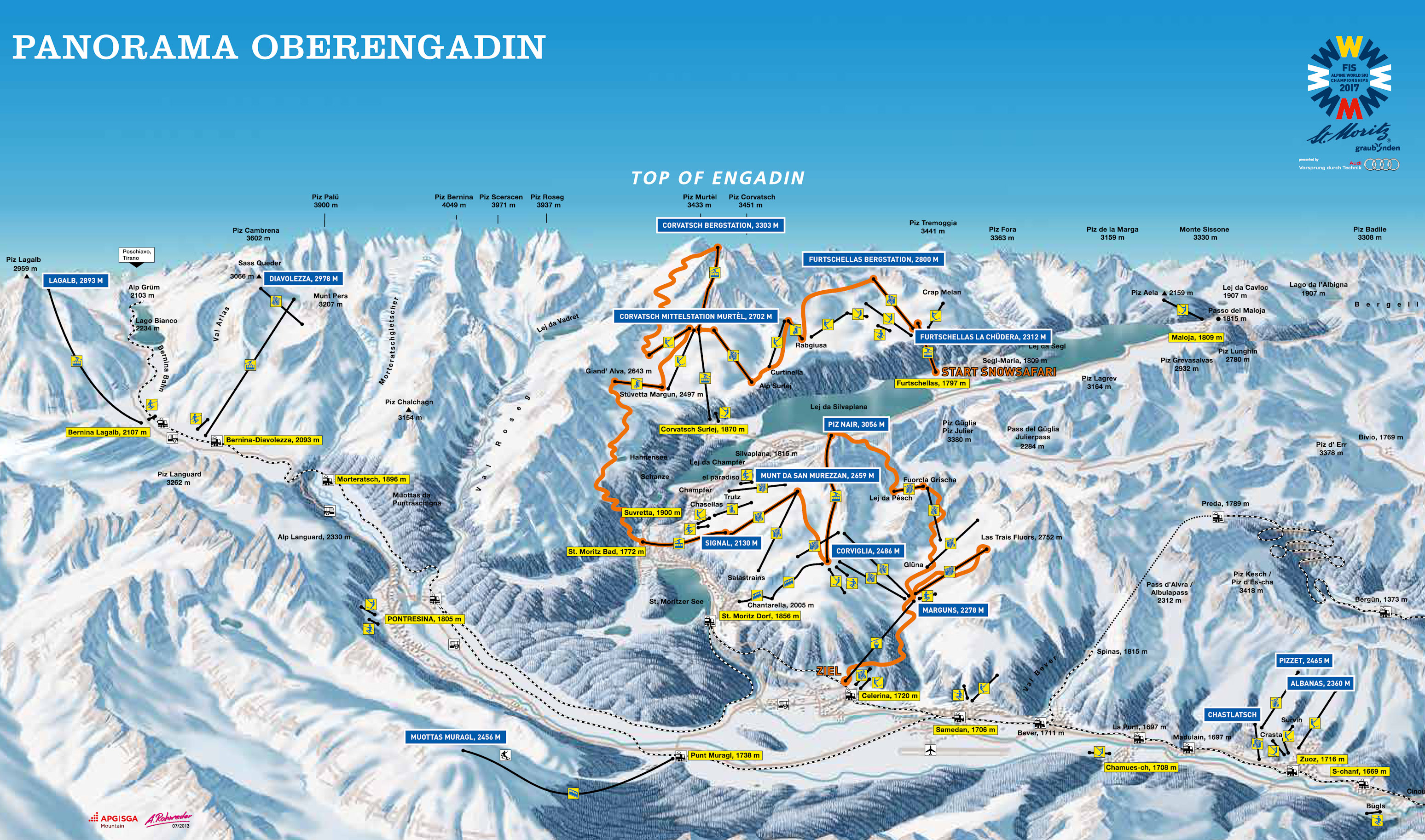 Corviglia-Marguns Piste / Trail Map