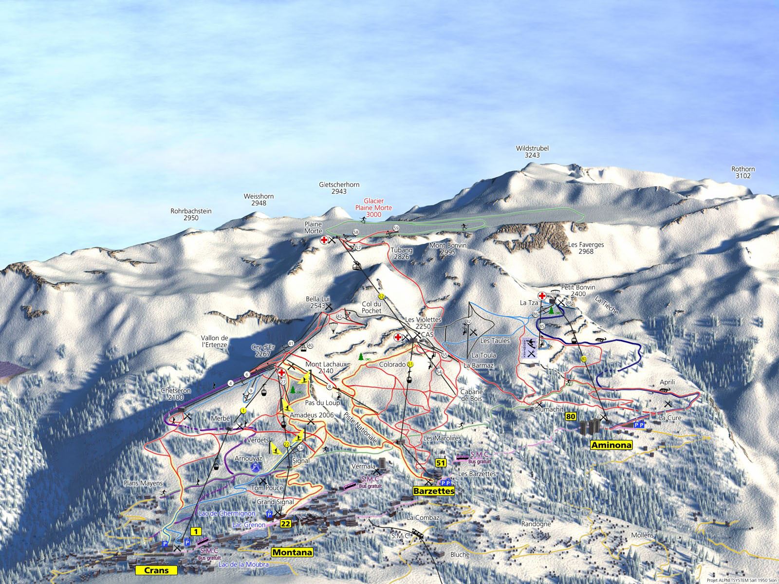 Crans Montana Piste Map Trail Map