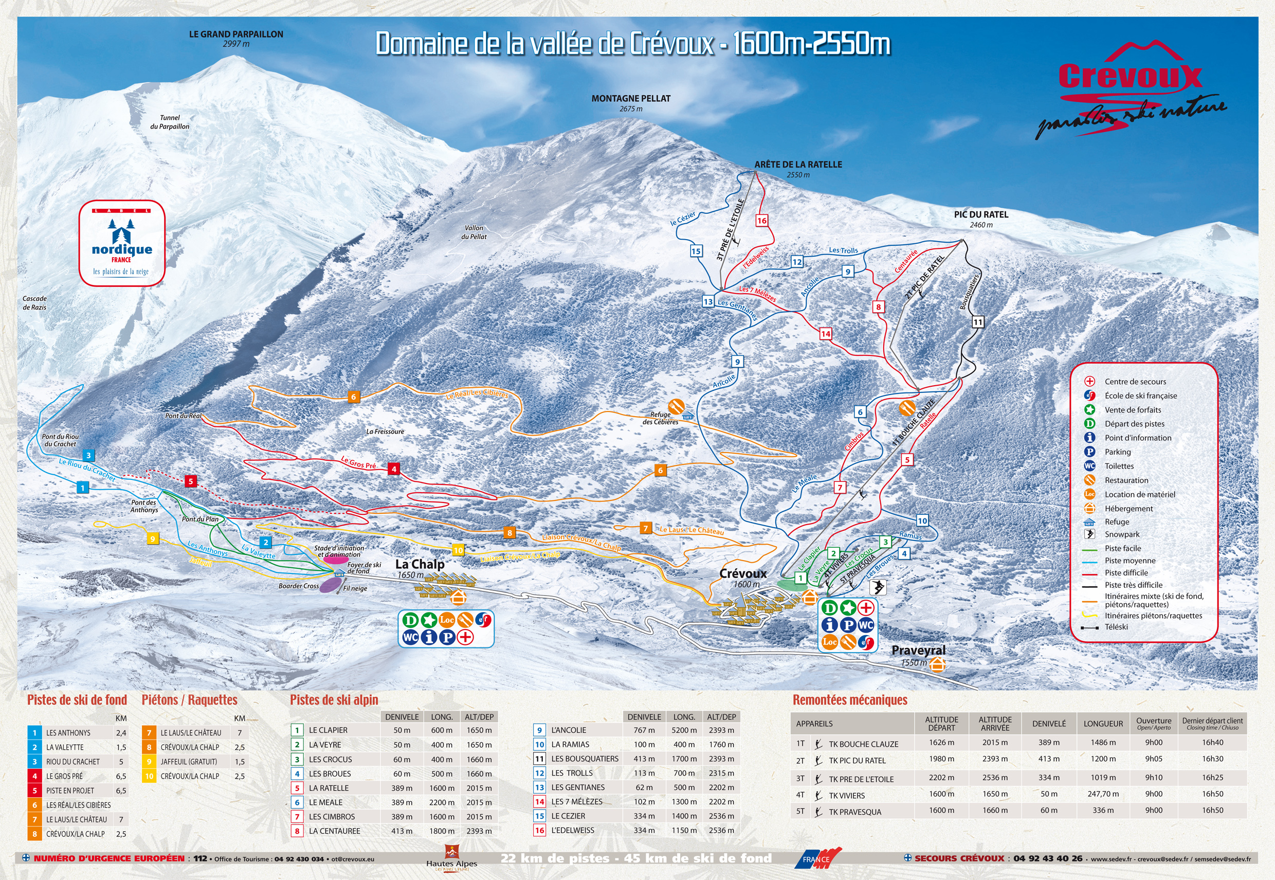 Crevoux Piste / Trail Map