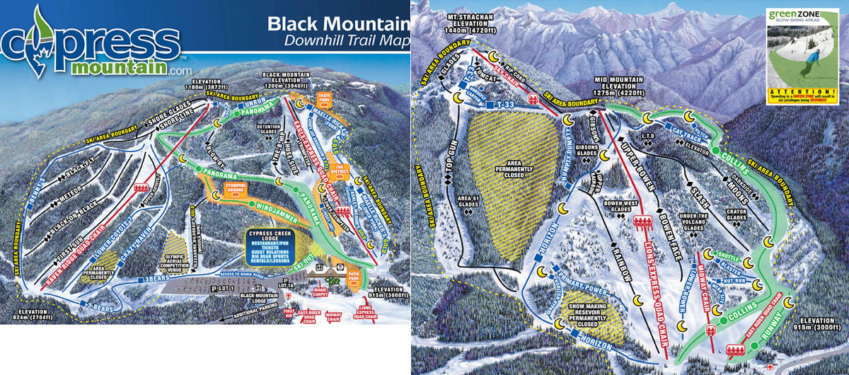 Cypress Mountain Piste / Trail Map