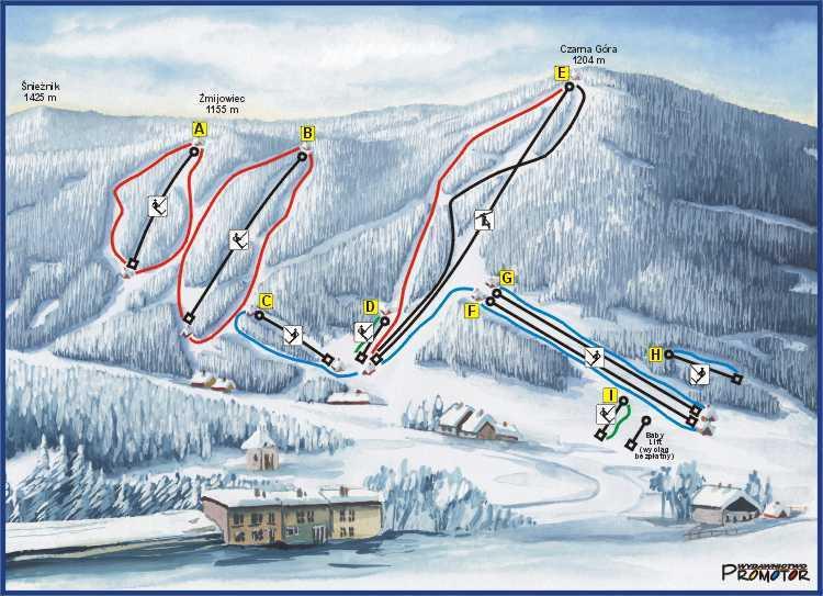 Czarna Góra Piste / Trail Map