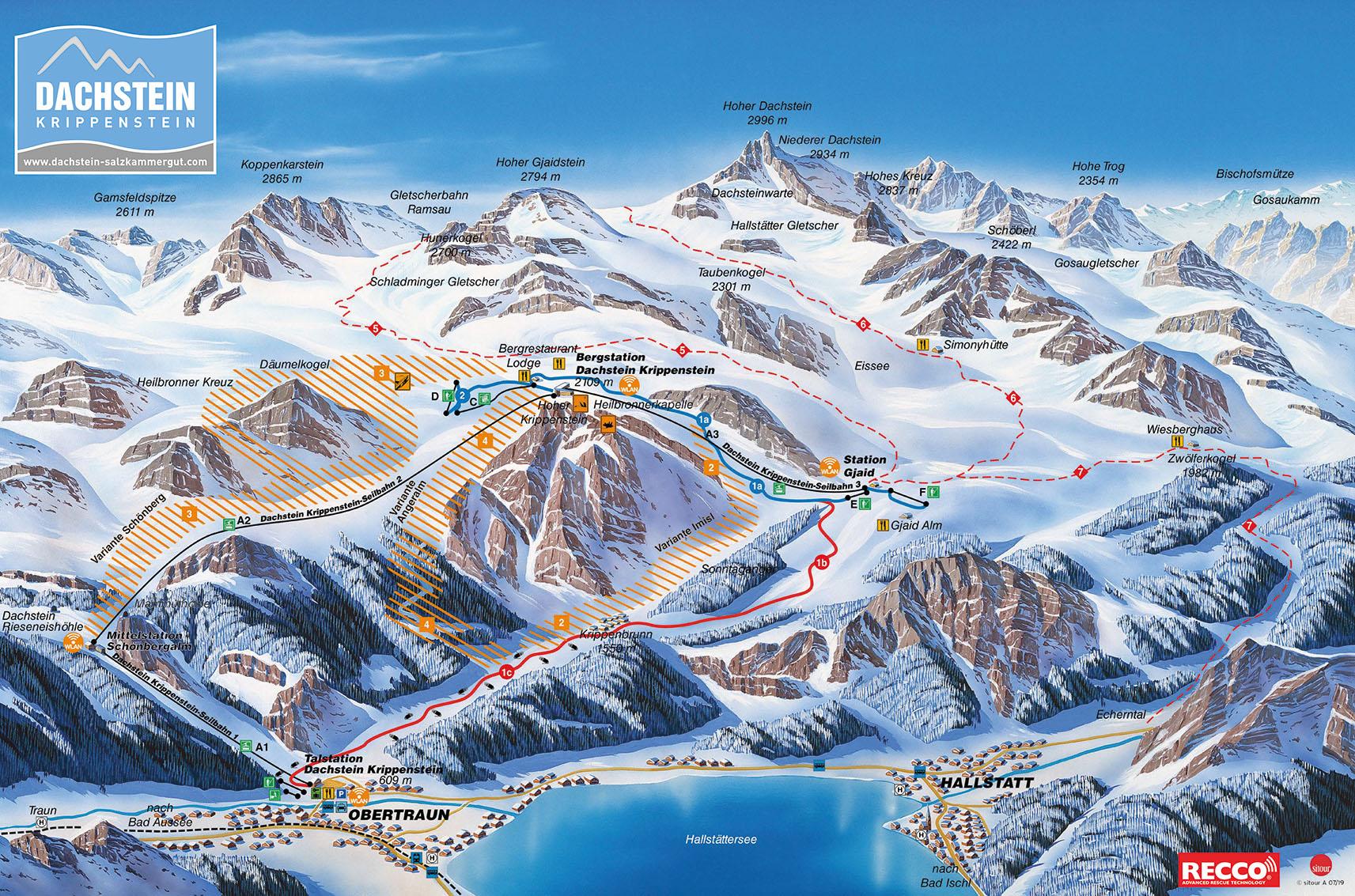 Dachstein Glacier Piste / Trail Map