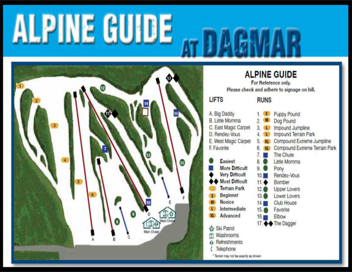 Dagmar Ski Resort Piste / Trail Map