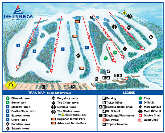 Devils Elbow Piste / Trail Map