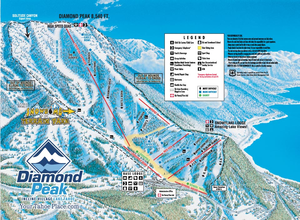 Diamond Peak Piste / Trail Map