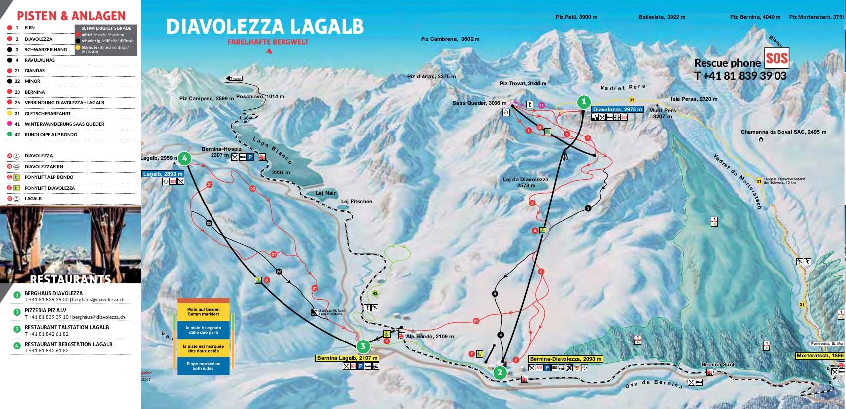Diavolezza-Lagalb Piste / Trail Map