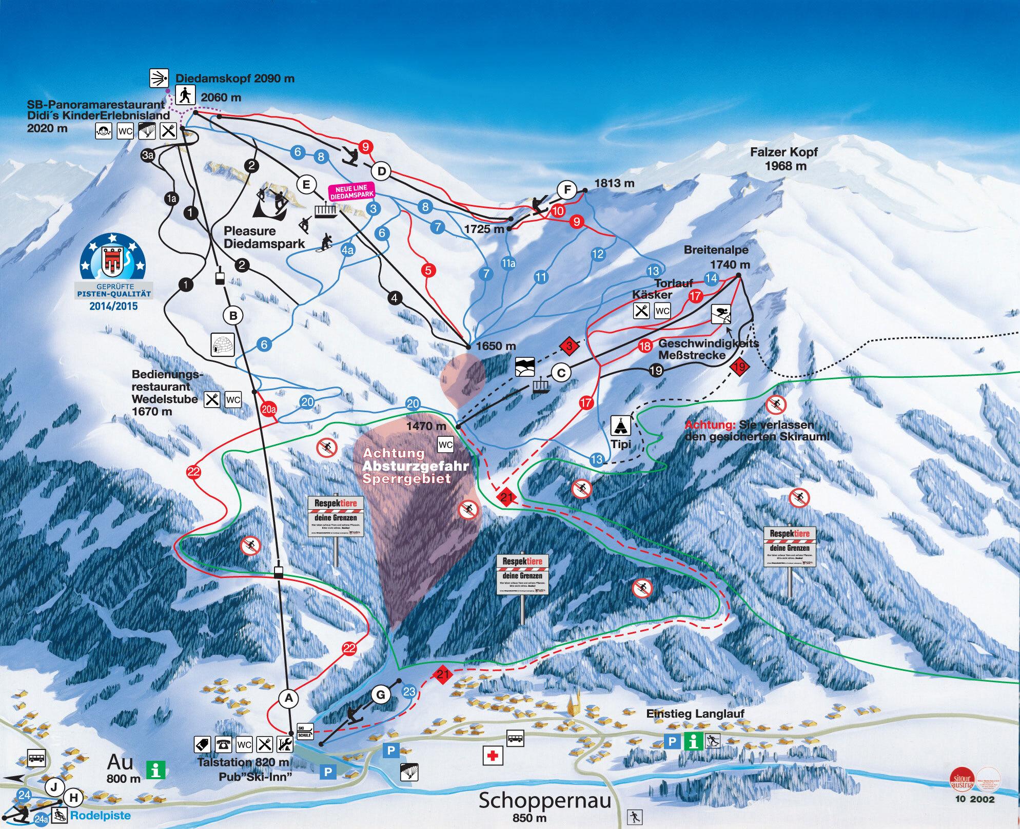 Diedamskopf Piste / Trail Map