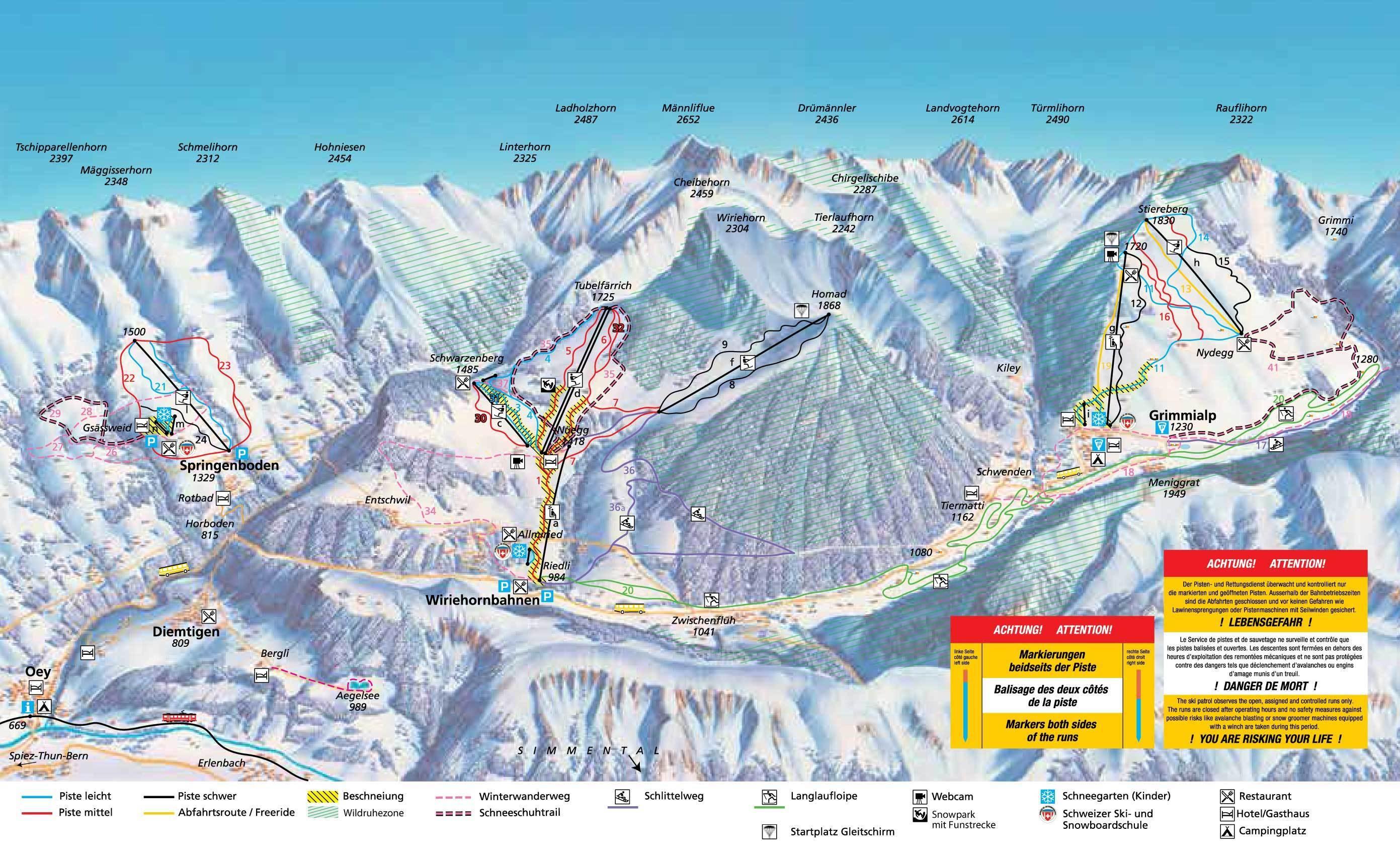 Diemtigtal - Springenboden Piste / Trail Map