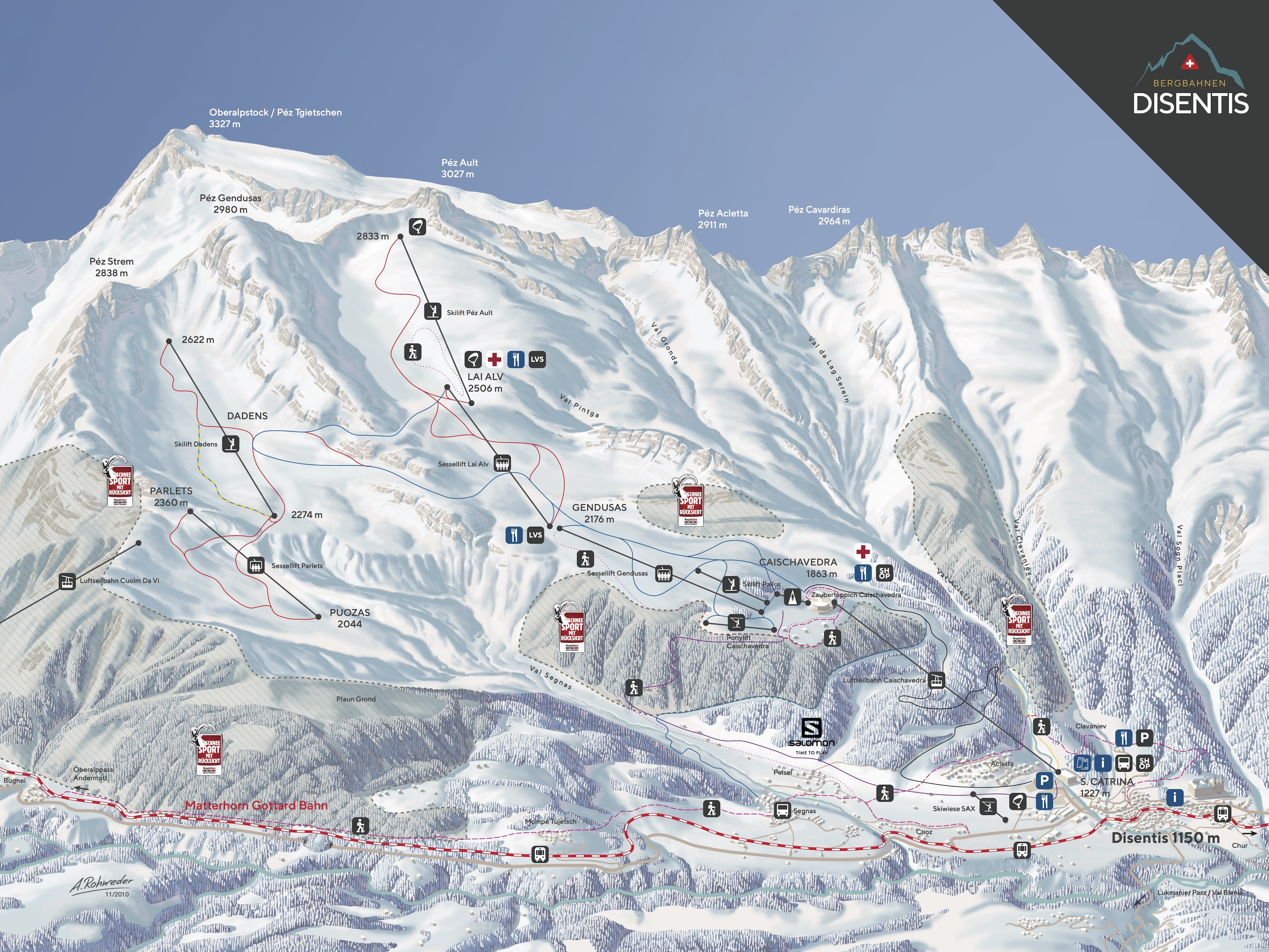 Disentis Piste Map Trail Map