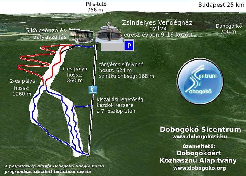 Dobogókő Sícentrum Piste / Trail Map