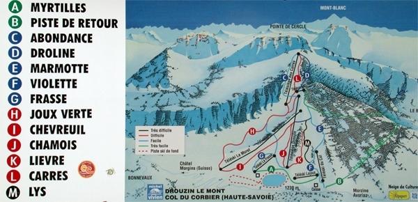 Drouzin Le Mont Piste / Trail Map