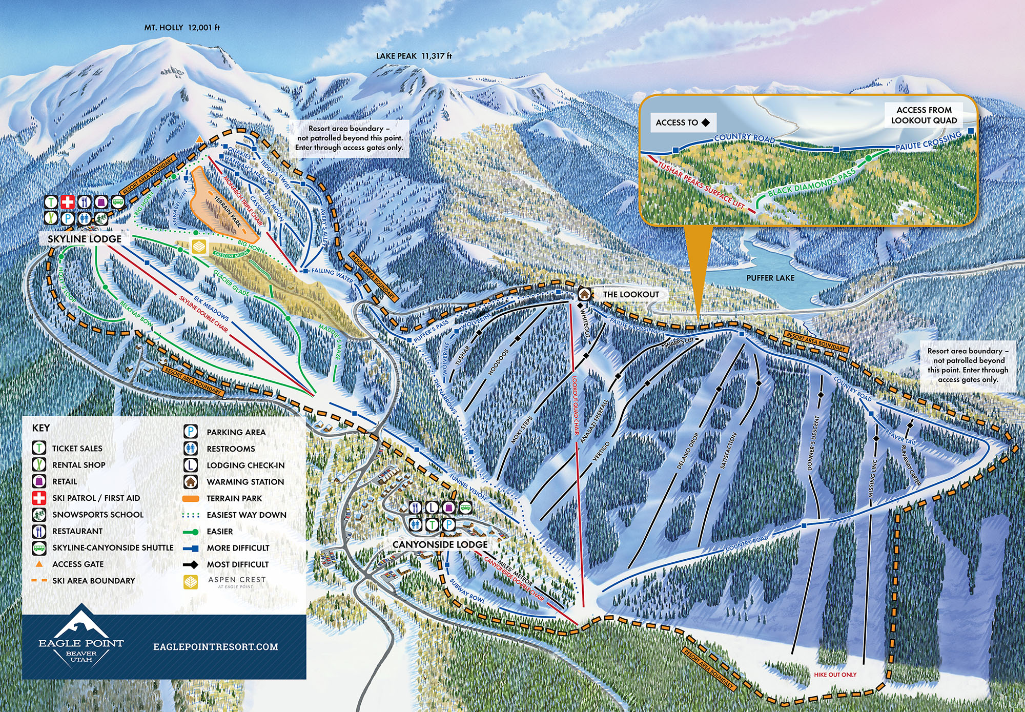 Eagle Point Resort Piste / Trail Map