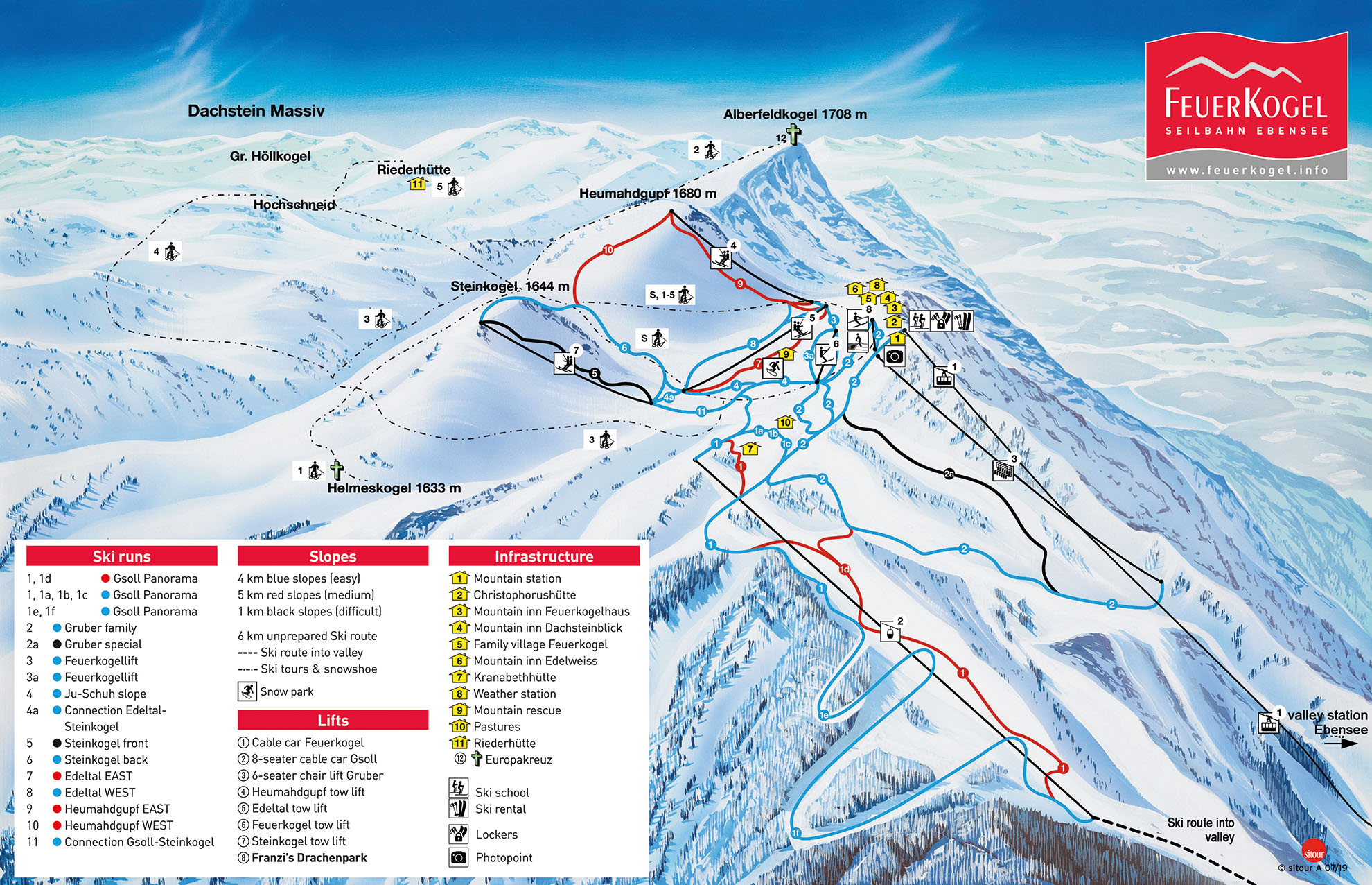 Ebensee am Traunsee Piste / Trail Map