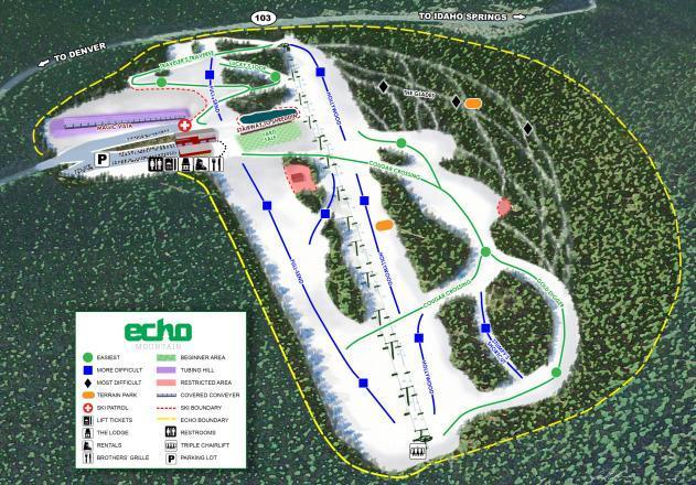 Echo Mountain Piste / Trail Map