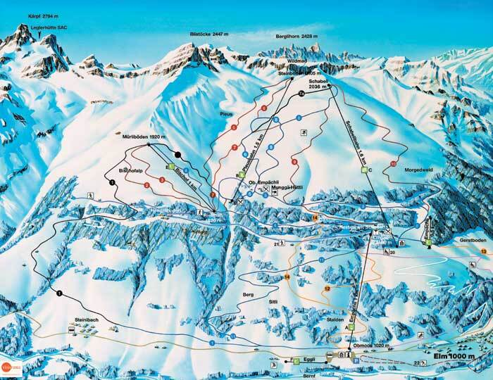 Elm Piste / Trail Map