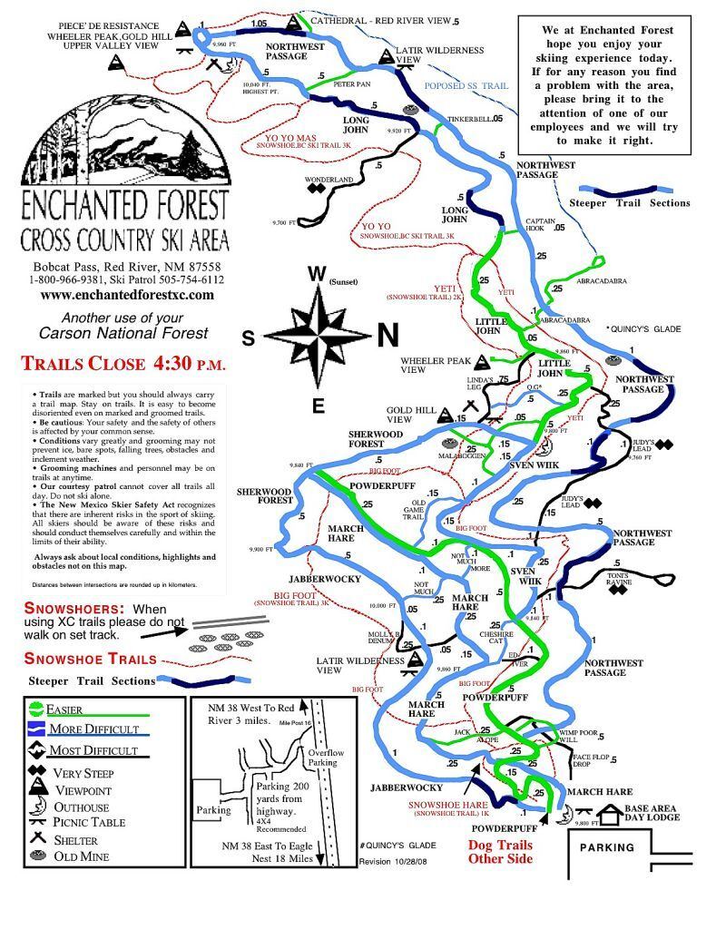 Enchanted Forest Cross Country Ski Area Piste Map Trail