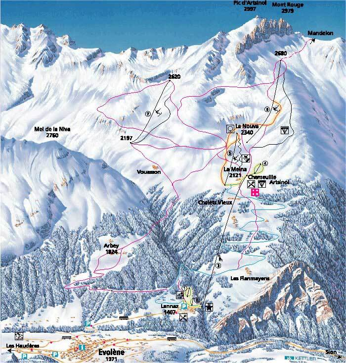 Evolne Piste Map Trail Map