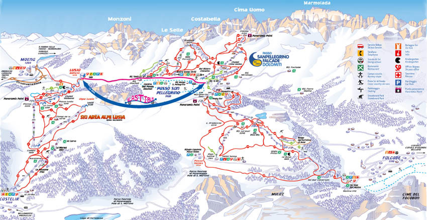 Falcade Piste / Trail Map