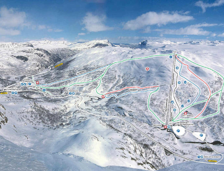 Filefjell Skiheiser Piste / Trail Map
