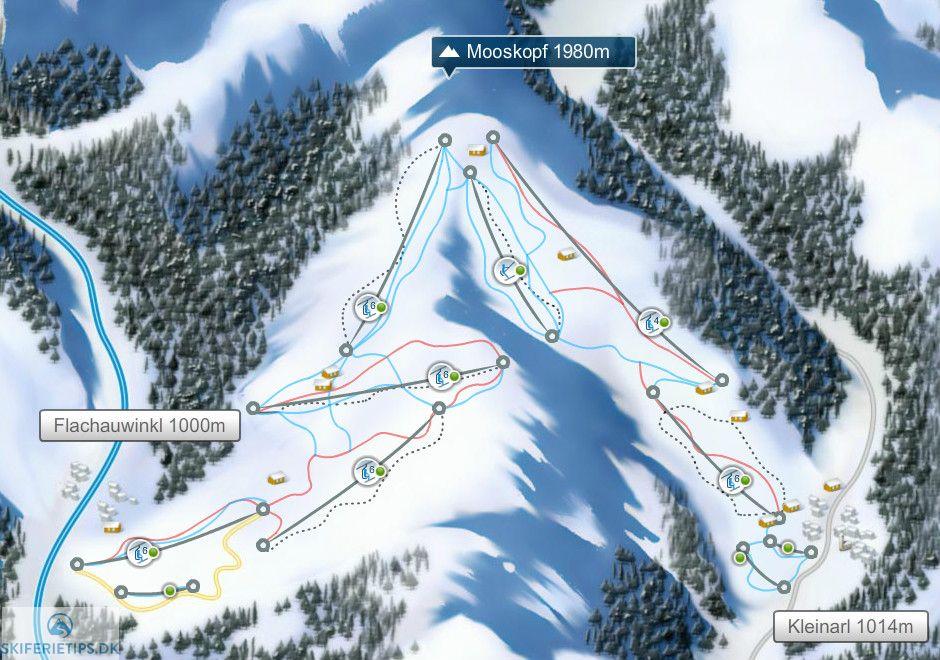 Flachauwinkl-Kleinarl Piste / Trail Map