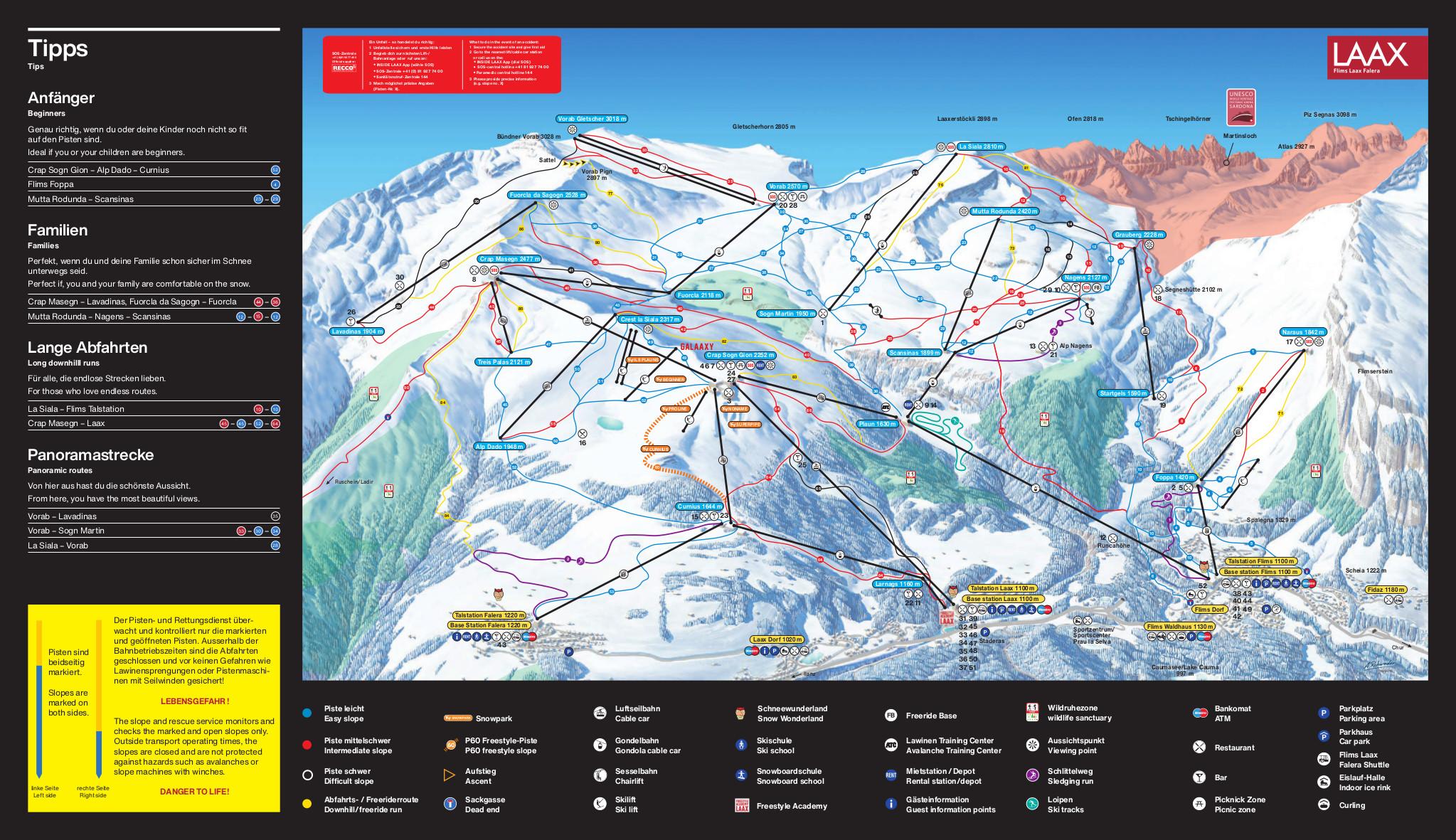Flims Laax Falera Piste / Trail Map