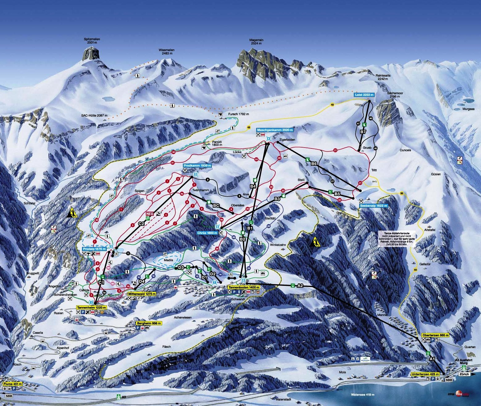 Flumserberg Piste Map Trail Map