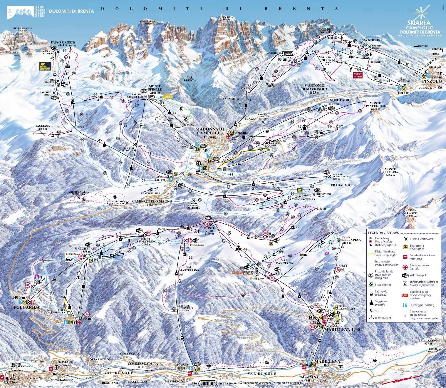 Folgarida-Marilleva Piste / Trail Map