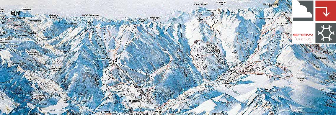 Val d'Allos – La Foux (Espace Lumière) Piste / Trail Map
