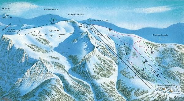 Ussita Frontignano Piste / Trail Map