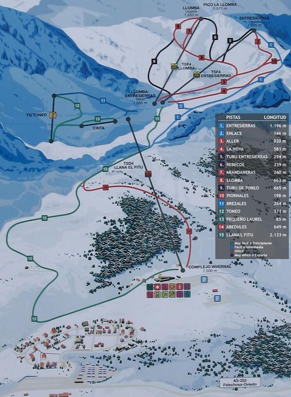 Fuentes de Invierno Piste / Trail Map