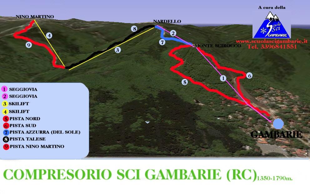 Gambarie in Aspromonte Piste / Trail Map