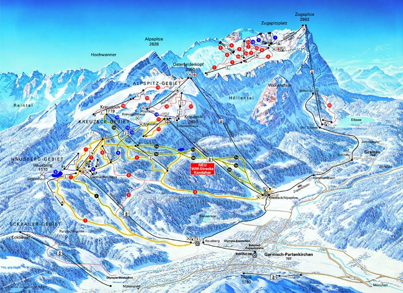 Garmisch-Partenkirchen-Zugspitze Piste / Trail Map