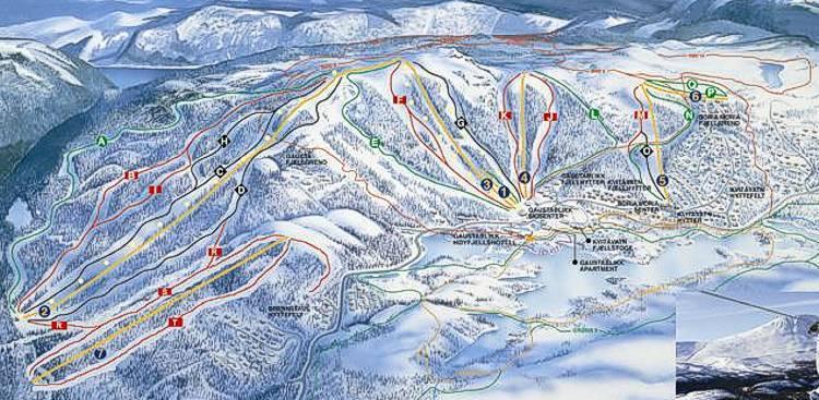 Gaustablikk Piste / Trail Map