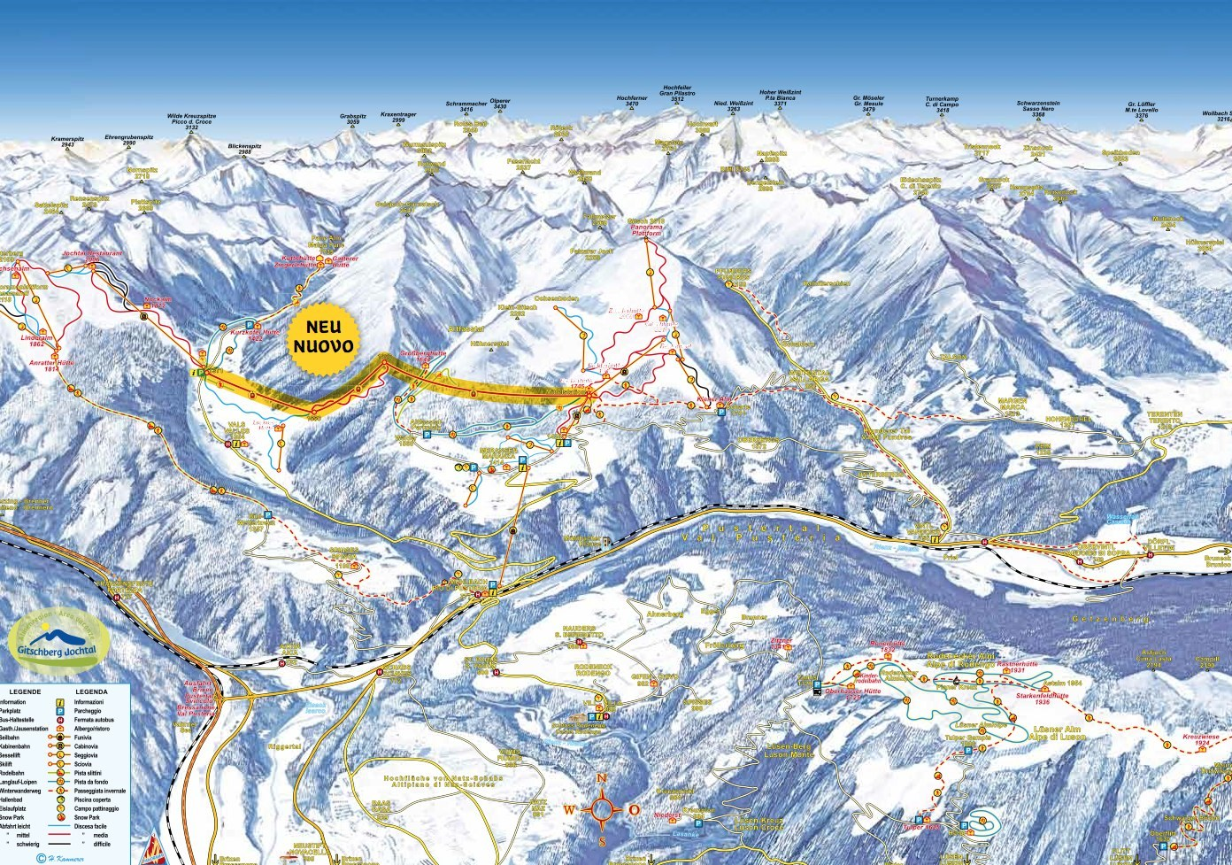 Gitschberg-Jochtal Piste / Trail Map