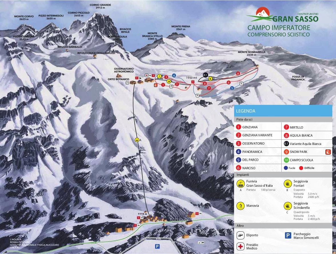 Gran Sasso Piste / Trail Map
