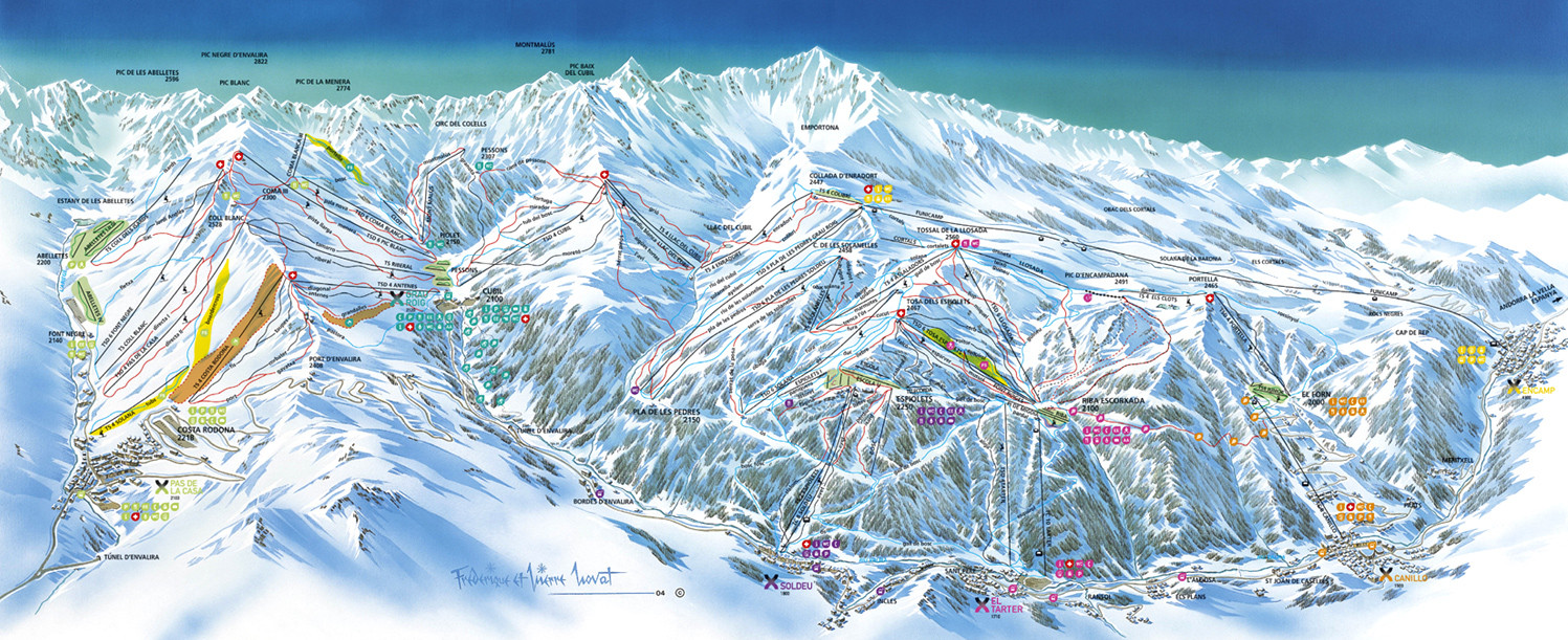 Grandvalira El Tarter Piste Map Trail Map high res