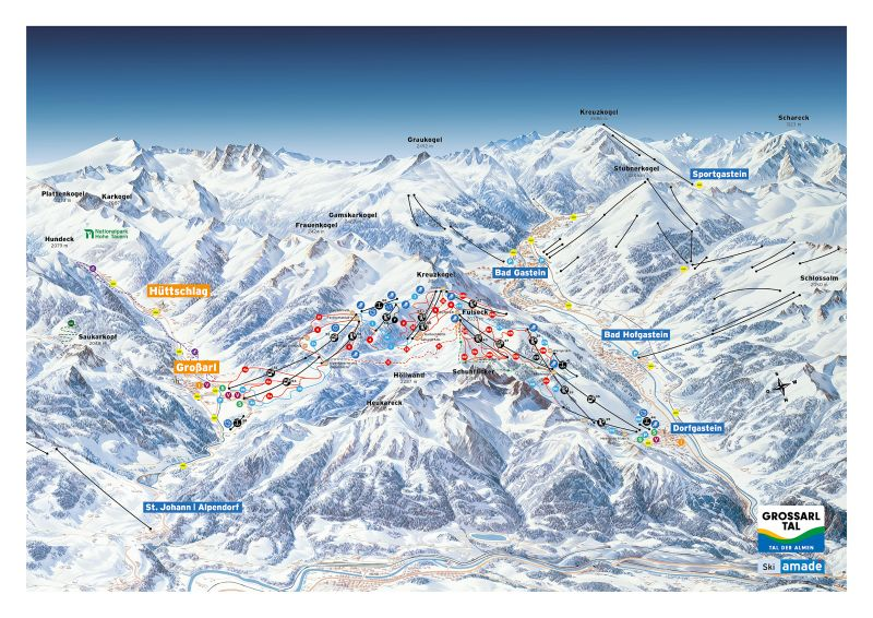 Grossarl-Dorfgastein Piste / Trail Map