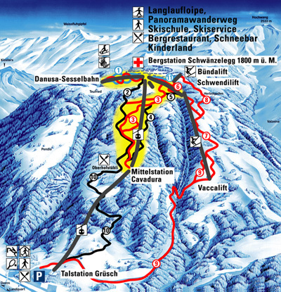 Grüsch - Danusa Piste / Trail Map