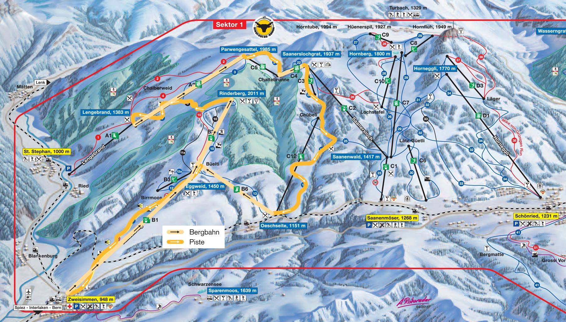 Gstaad/Rinderberg-Saanerslochgrat Piste / Trail Map