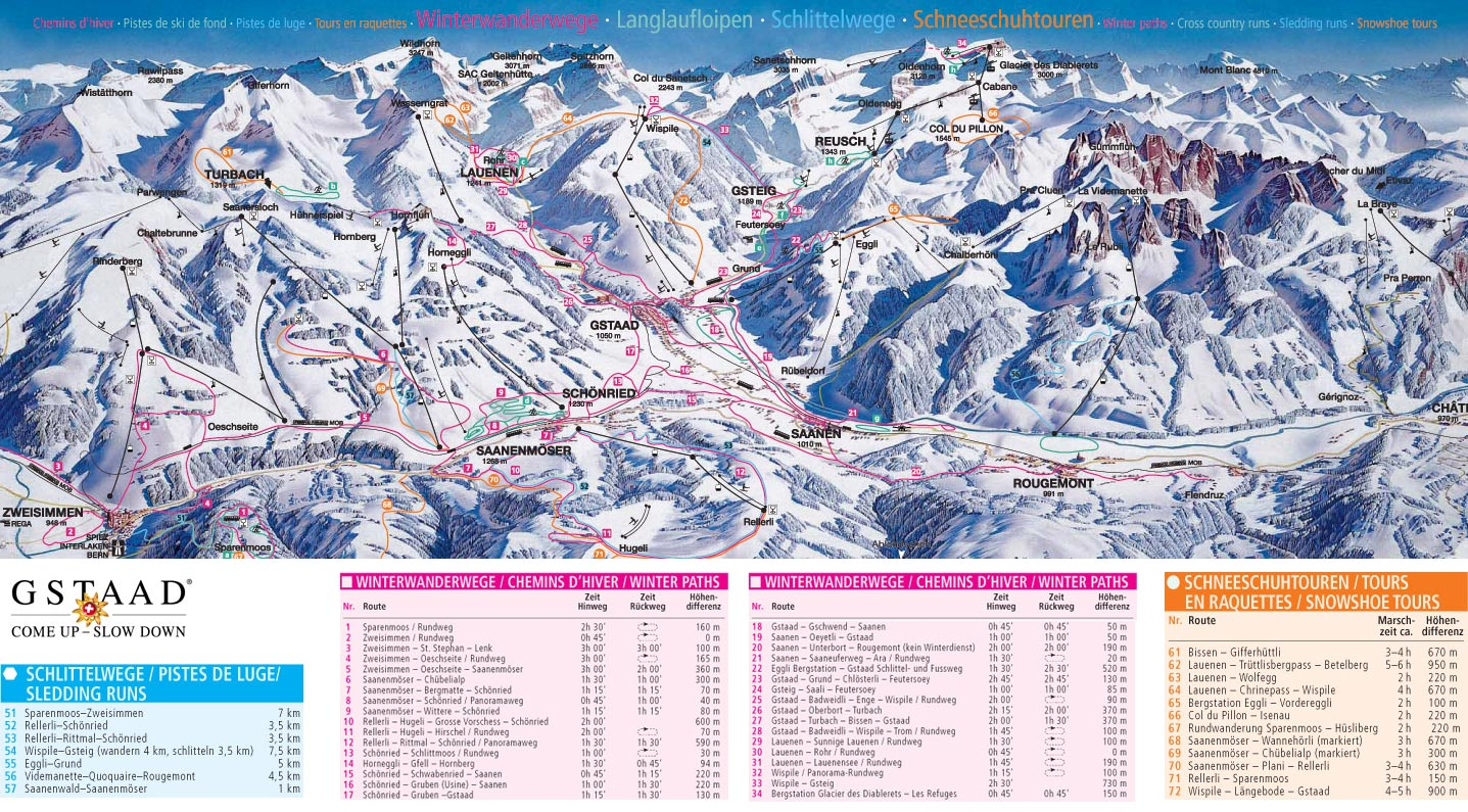 Gstaad Schnried Saanenmser Piste Map Trail Map