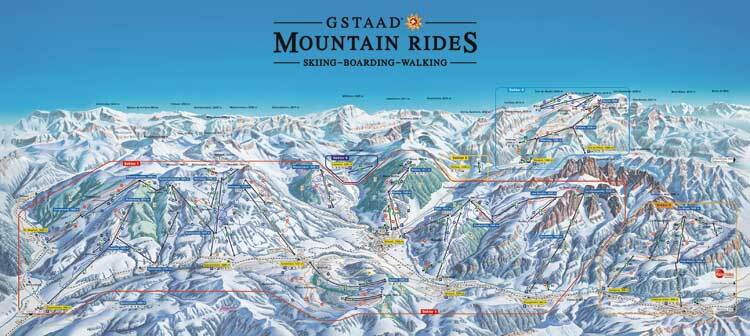 Gstaad - St.Stephan - Zweisimmen Piste / Trail Map